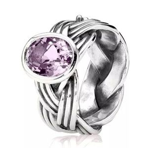 Pandora Retired Tied Together Amethyst Ring